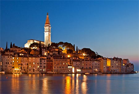 Croatia Rovinj In Night