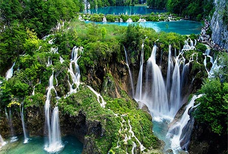 National Park Plitvice Lakes Waterfalls Panorama Croatia