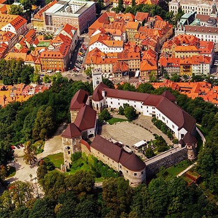 Slovenia Ljubljana Old Town From Air