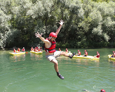 Croatia Jumping Into The Cetina River During Rafting
