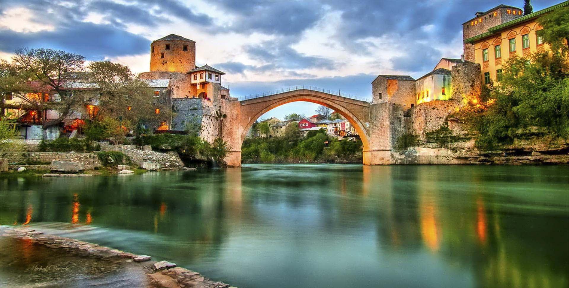 Bosnia And Herzegovina Mostar Old Bridge From River
